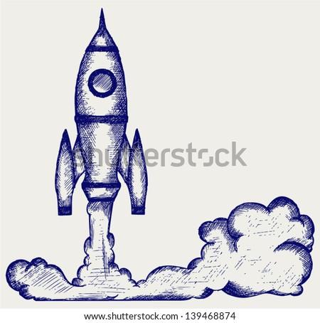 Retro rocket. Doodle style - stock vector