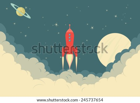 Retro Rocket Spaceship taking off or landing - stock vector