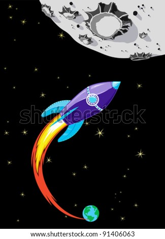 Retro Rocket Spaceship to the Moon - stock vector