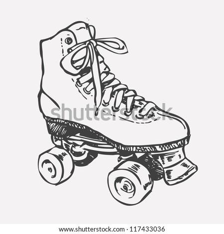 retro roller skate drawing style vector stock vector 117433036 shutterstock. Black Bedroom Furniture Sets. Home Design Ideas