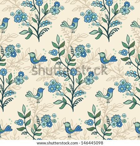 Retro romantic floral background with flowers and birds. - stock vector