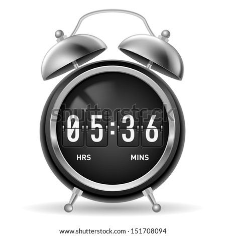 Retro round alarm clock with flip numbers instead of face. Illustration isolated on white background. - stock vector