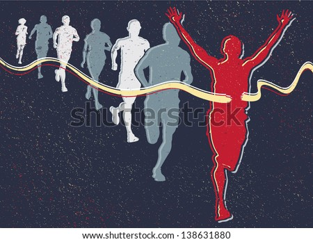 Retro Runners. Illustration of a Winning Athlete ahead of a group of marathon runners competing in a street race.