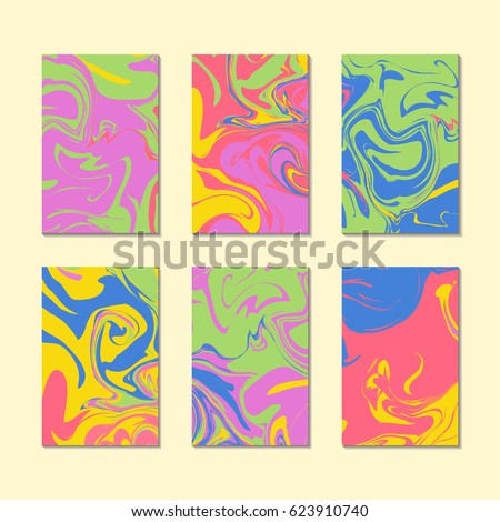 Retro 80s or 90s summer marble texture cards templates vector. Stone effect, oil liquid print or acrylic paint pattern background.