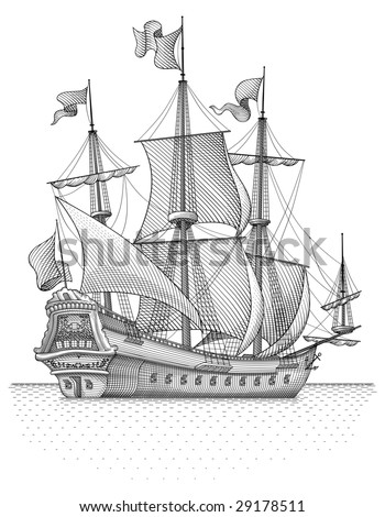 Retro sail ship vector - stock vector