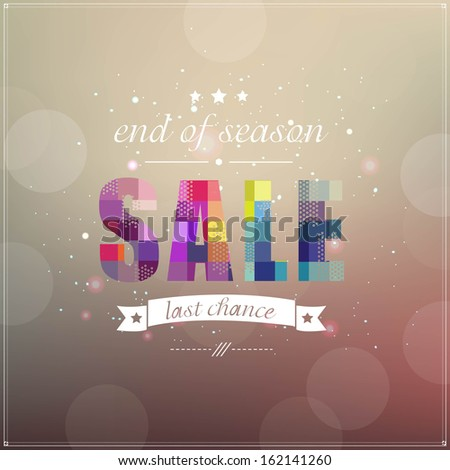 Retro Sale Poster With Banner Ribbon, With Gradient Mesh, Vector Illustration - stock vector