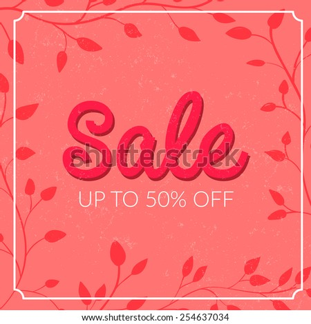 Retro sale poster with grunge texture. Up to 50% off. Vector banner for spring and summer clearance. - stock vector