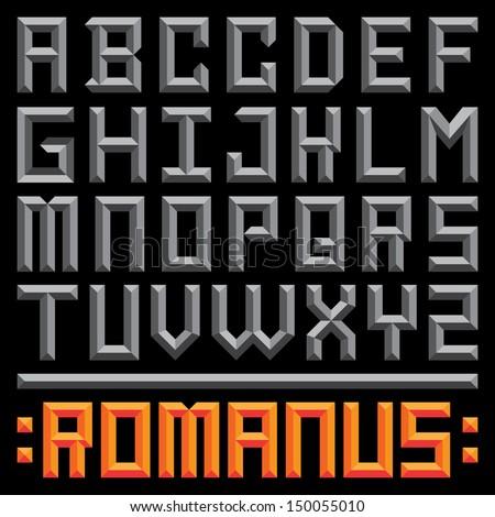 Retro Sans Serif Dimensional Typeface - Rome - stock vector