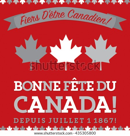 """Retro sash Canada Day maple leaf card in vector format.Translation (top to bottom)   """"Proud to be Canadian!"""" """"Happy Canada Day"""" """"Since July 1 1867!"""" - stock vector"""
