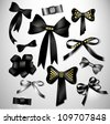 Retro satin black gift bow collection. Ribbon. Isolated on white - stock vector