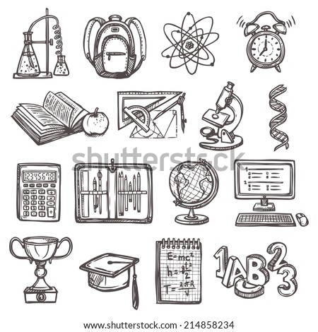 Retro school education sketch icons set of backpack alarm clock globe isolated vector illustration - stock vector