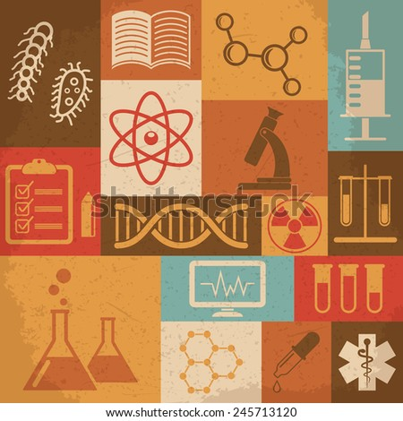 Retro science, medical and education icons. Vector illustration - stock vector