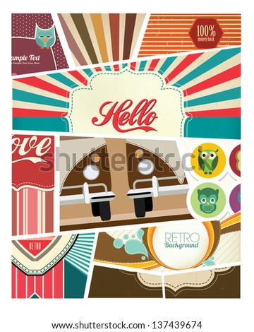 Retro Scrapbook Design - stock vector