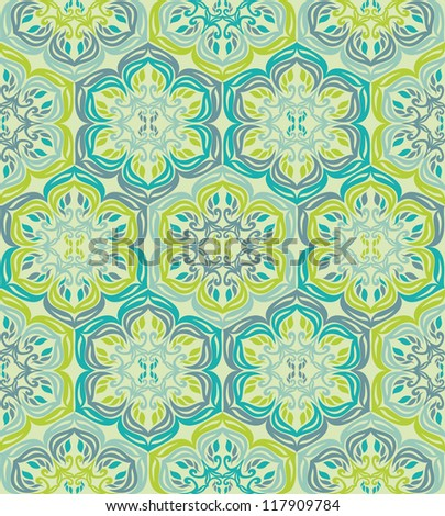 Retro seamless abstract floral pattern - stock vector
