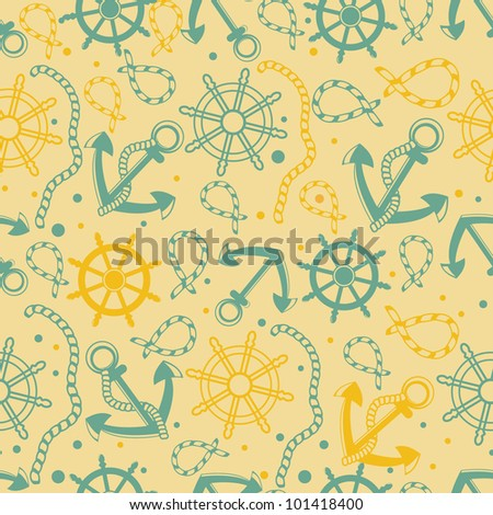 Retro seamless background with anchor, ropes, wheel, marine knots.