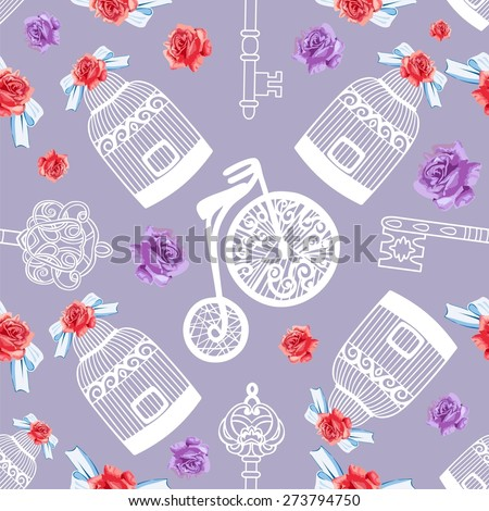 Retro seamless card design vintage roses, bird cage, bike.Shabby Chic style, Provence be used for pastel wallpaper,registration of weddings, decoupage,label, print on t-shirt, book cover, scrapbook   - stock vector