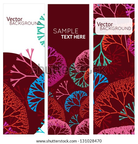 Retro seamless colorful 3 banners with abstract trees. Vector illustration