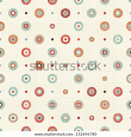 retro seamless colorful polka dots pattern  - stock vector