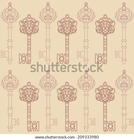 Retro seamless fabric design of vintage keys beige color be used for wallpaper, pattern fills, web page background,surface textures, scrapbook - stock vector.
