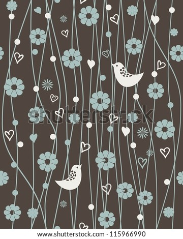 retro seamless floral pattern with birds - stock vector