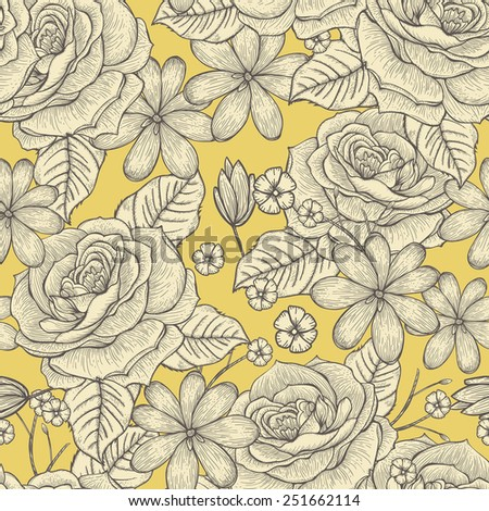retro seamless hand drawn rose pattern over yellow background - stock vector