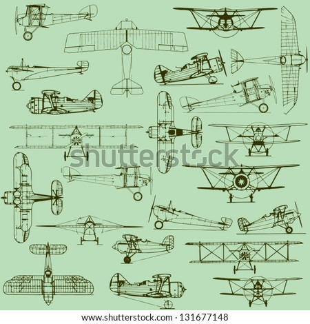 Retro seamless old airplanes pattern - stock vector