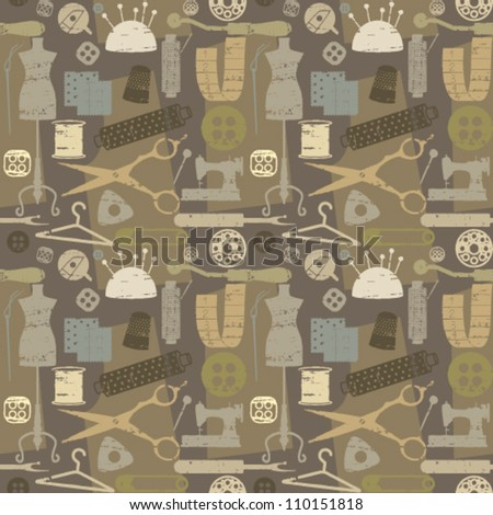 Retro seamless pattern background with sewing and tailoring elements - stock vector