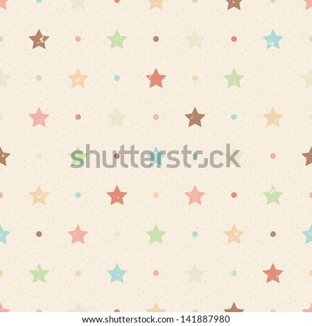 Retro seamless pattern. Color grunge stars and dots on beige textured background - stock vector