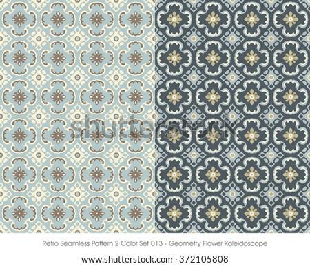 Retro Seamless Pattern 2 Color Set_013 Geometry Flower Kaleidosc - stock vector