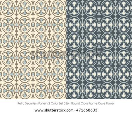 Retro Seamless Pattern 2 Color Set_536 Round Cross Frame Curve Flower