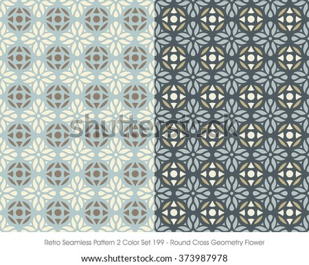 Retro Seamless Pattern 2 Color Set_199 Round Cross Geometry Flower
