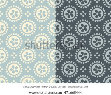 Retro Seamless Pattern 2 Color Set_506 Round Flower Dot