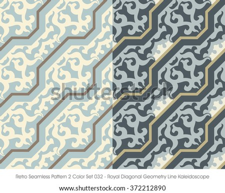 Retro Seamless Pattern 2 Color Set_032 Royal Diagonal Geometry L