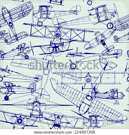 Retro seamless  pattern , old airplanes drawing - stock vector