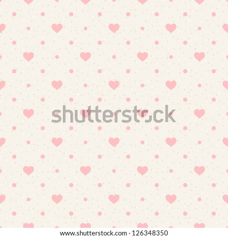 Retro seamless pattern. Pink hearts and dots on beige background - stock vector