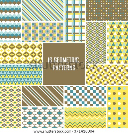 Retro seamless pattern set. Vintage vector background. Geometric frame repeat wallpaper. Decorative elements collection. Abstract texture. Fashion design, elegant fabric print, paper wrapping