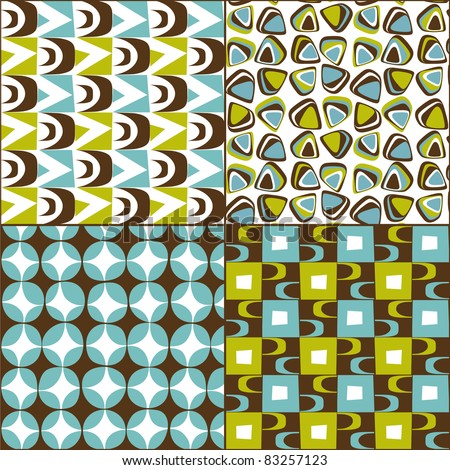 Retro seamless pattern vintage set from the 50s and 60s - stock vector