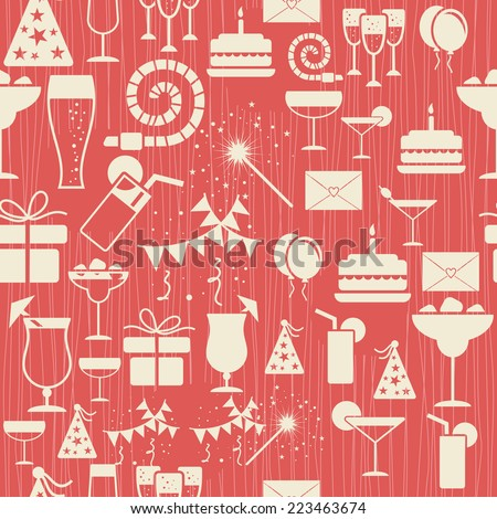 retro seamless pattern with birthday party elements  - stock vector