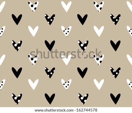 retro seamless pattern with black and white  hearts - stock vector