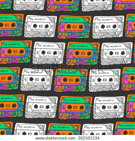 Retro seamless pattern with cassettes. Hipster fun style. Doodle musical background for wrapping, fabric, textile. Hippie colors. Vector design - stock vector
