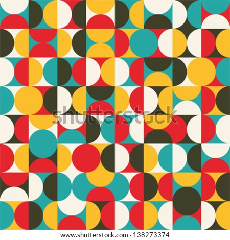 Retro seamless pattern with circles. Colorful vector background for hipster.