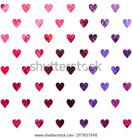 retro seamless pattern with colorful hearts - stock vector