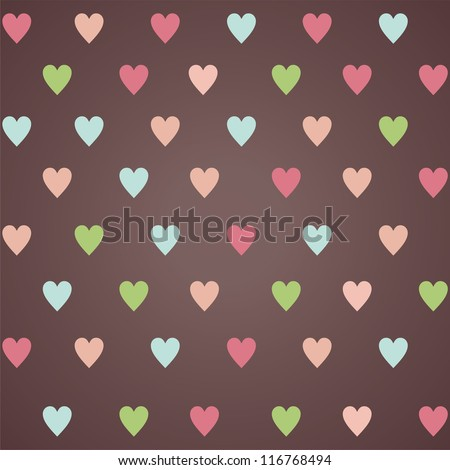 retro seamless pattern with colorful hearts. eps10 - stock vector