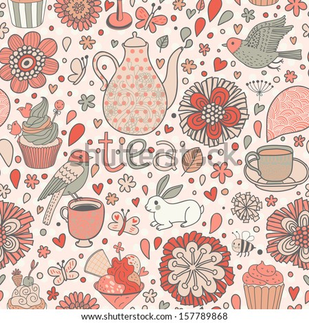 Retro seamless pattern with flowers, tea, birds, desserts, ice-cream, cup, kettle, bees and cupcakes. Spring texture ideal for coffee house design.