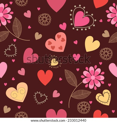 Retro seamless pattern with hearts and  flowers - stock vector