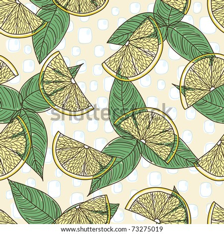 retro seamless pattern with lemon - stock vector