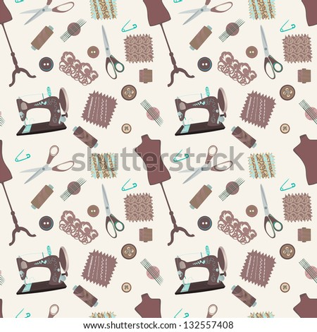 Retro seamless pattern with sewing accessories - sewing tailor and mannequins - stock vector