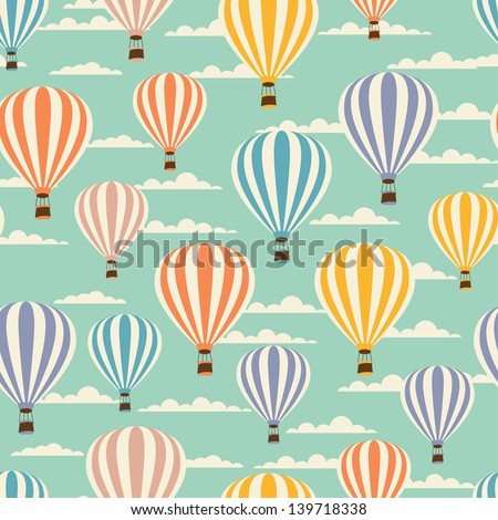 Retro seamless travel pattern of balloons. - stock vector