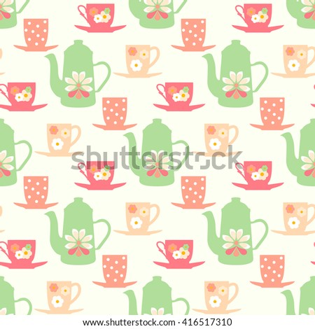 Retro seamless vector pattern with teapots, tea mugs and  coffee cups - stock vector