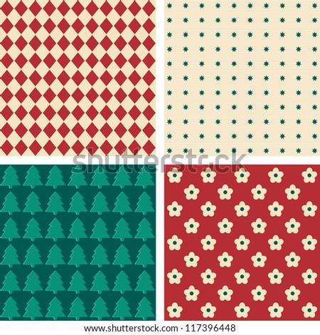 Retro seamless wallpaper pattern. Vector graphic illustration - stock vector